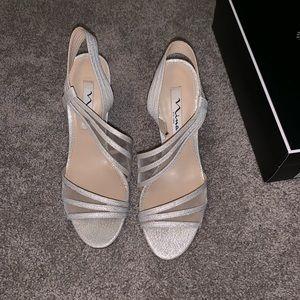 Silver sparkly Nina heels